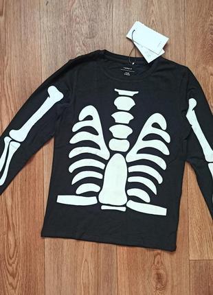 Кофта реглан лонгслив скелет светится темноте
