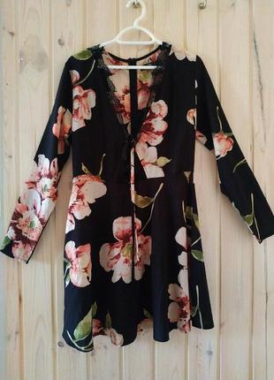 Платье с кружевом цветочный принт с длинным рукавом