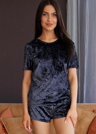 Mito 313 пижама женская мраморный велюр футболка шорты синяя