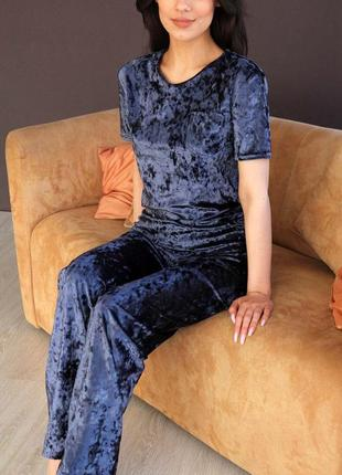 Mito 314 пижама женская мраморный велюр футболка и брюки синяя