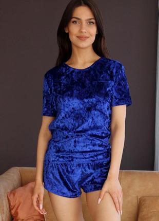 Mito 313 пижама женская мраморный велюр футболка шорты синяя электрик