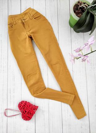 Горчичные коттоновые джинсы, брюки.