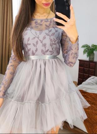 1811.   вечернее платье с ажурным верхом и фатиновой юбкой
