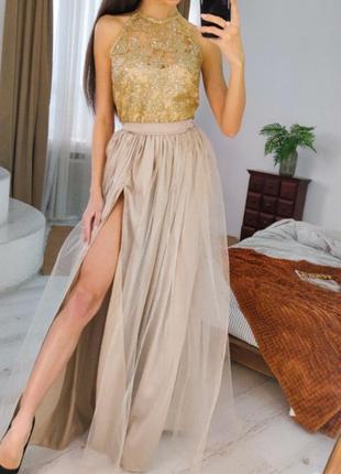 1812.     вечернее платье макси с золотистым ажурным верхом и фатиновой юбкой