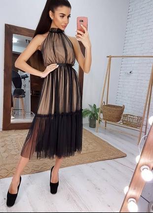 1813.     черное вечернее платье мили из сетки на бежевом подкладе
