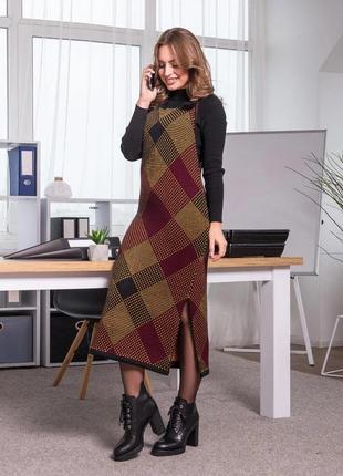 Теплое платье-сарафан деловой стиль оверсайз