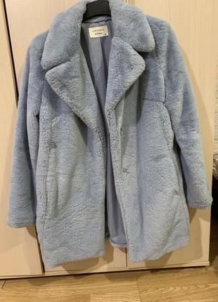 Пальто-шуба с искусственным мехом демисезонное