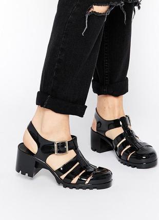 Truffle collection jelly heeled sandals pt007  black сандали босоножки мыльницы 25.5 см