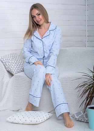 Теплая женская пижама из фланели (100% хлопок)
