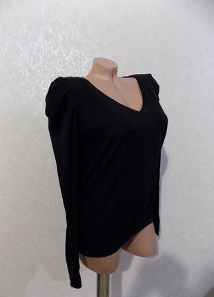 Пуловер кофта рукава фонарик черная фирменная h&m размер 48