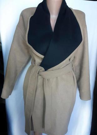 Шерстяное пальто халат