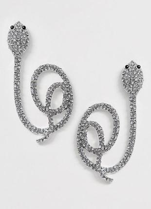 """🐍🍏 стильные эффектные серьги-гвоздики """"змейки с кристаллами"""" змеи от asos"""
