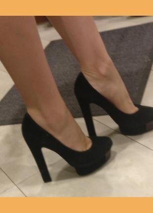 Черные бархатные туфли glossi