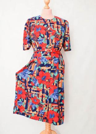 Винтаж винтажное разноцветное яркое платье миди платье- халат  с рукавом