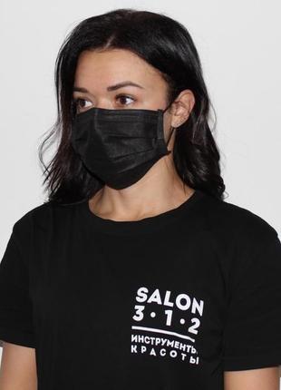 Фабричные паяные черные маски медицинские 80 штук