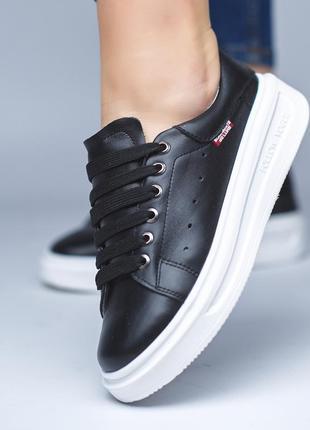 Низкие кожаные кеды р36-41 мокасины кроссовки слипоны балетки шкіряні кеди мокасини чёрные