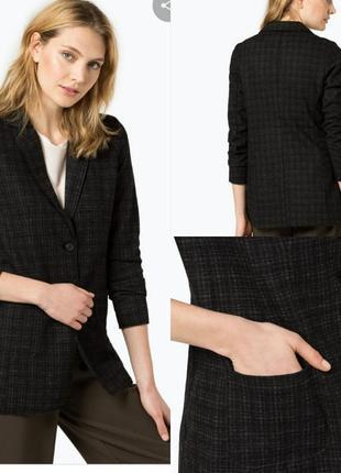 Жакет пиджак полупальто укороченное пальто  прямой крой удлинённый в клетку opus, 42 eur