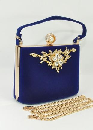 Велюровая сумочка, клатч rose heart 1661 синий