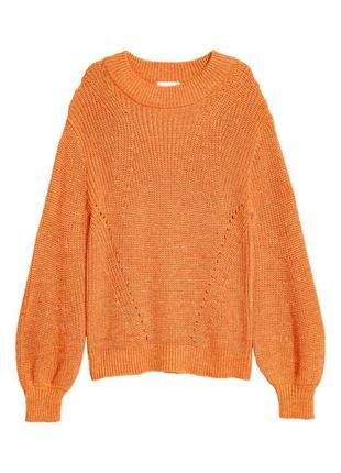 Вязаный джемпер h&m 0556420006 оранжевого цвета