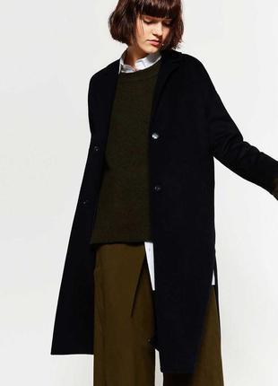 Длинное шерстяное пальто zara ручная работа handmade
