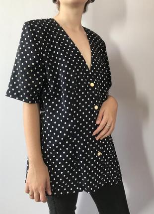 Блузка в горошек с карманами, сделана в англии