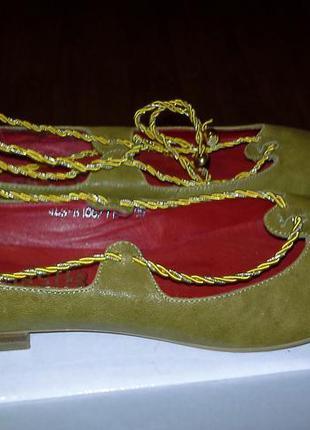 Балетки с золотым шнуром