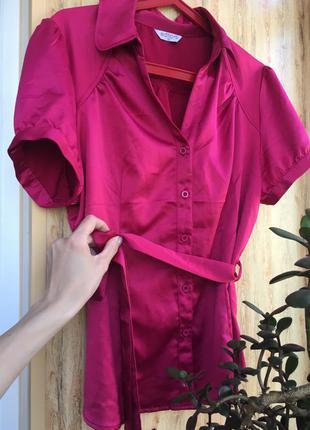 Блуза яркая с поясом