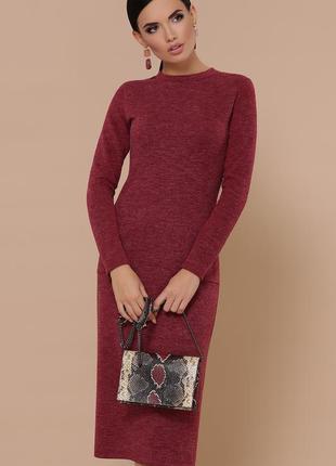 Комфортное бордовое платье