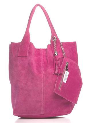 Замшевая сумка arianna италия, цвет фуксия