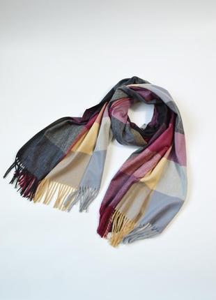 Теплый кашемировый шарф плед в клетку бордо с серым