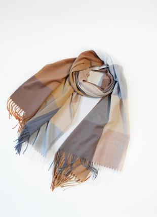 Кашемировый шарф плед клетчатый капучино/серый