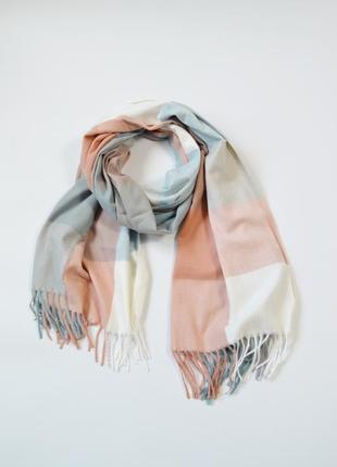 Женский теплый шарф плед в пастельных тонах