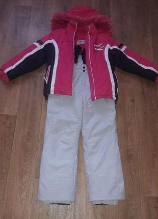 Куртка и комбинезон зимний лыжный для девочки+шапка.