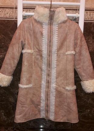 Пальто-дубленка на девочку