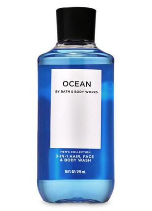 Мужской гель для душа bath and body works ocean 3-in-1 hair + face + body wash 295 мл
