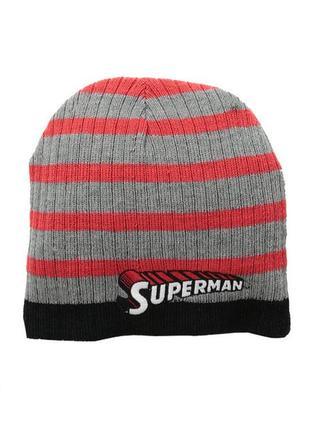 Шапка двухсторонняя для мальчика осень superman