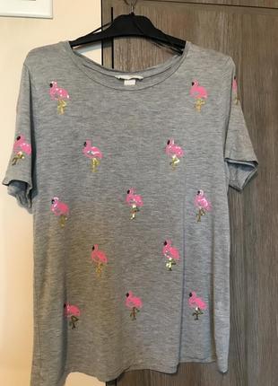 Хлопковая футболка с фламинго из паеток