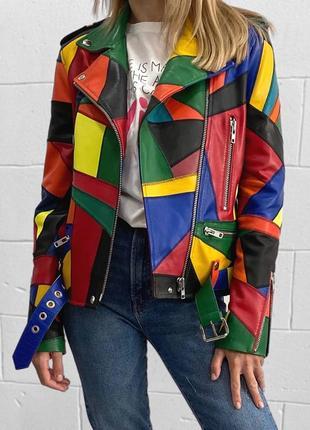 Кожаная куртка, косуха в стиле пэчворк