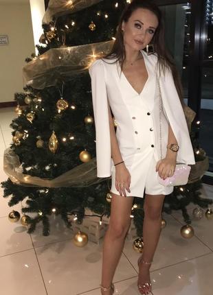 Шикарное платье пиджак двубортный пиджак жакет блейзер кейп большой размер