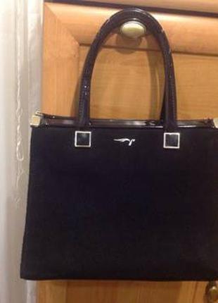 Классическая сумка лаковая кожа+замш
