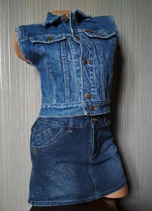 Стильный джинсовый укороченный жилет, жакет-безрукавка margaret jeans синий