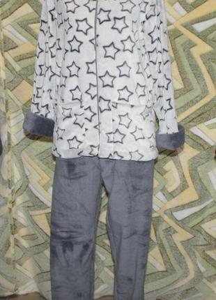 Махровый домашний костюм пижама на молнии