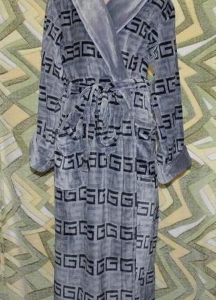 Длинный махровый халат на запах без капюшона (шаль) стриженная махра