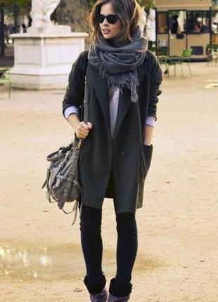 Трендовое двубортное пальто шерстяное,бойфренд,черное,70% шерсть от topshop