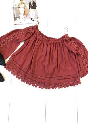 Яркая блуза кружево кофта плечи на резинке оверсайс