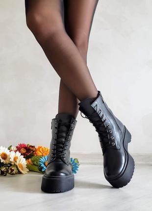 Ботинки высокие кожаные чёрные р36-41 сапоги черевики високі шкіряні чорні чоботи