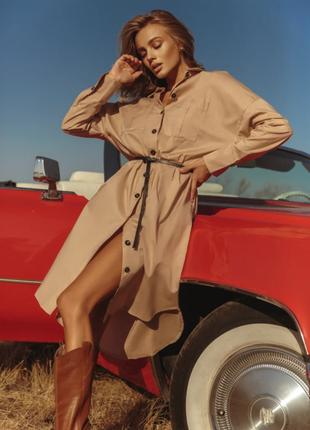 Свободное платье-рубашка базового цвета хлопок s m l