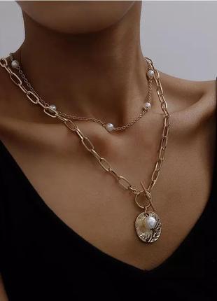 💄💋шикарный чокер цепь ланцюжок колье ожерелье многослойная цепочка👠👜
