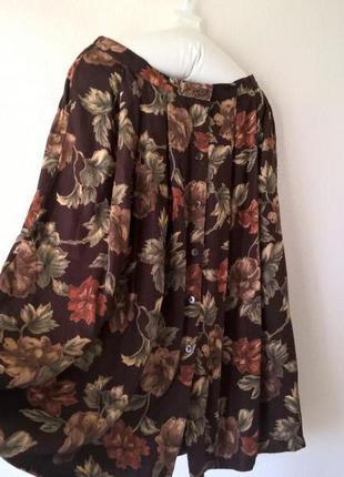 Женская юбка миди спереди пуговицы цветочный принт