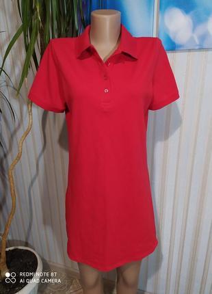Cочное красное платье поло котон